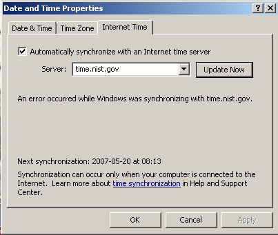 Willow Pond PC Tips - Time Synchronization Errors in Windows XP